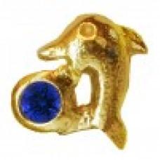 Zahnschmuck Twinkles Delfin Gold mit Saphir